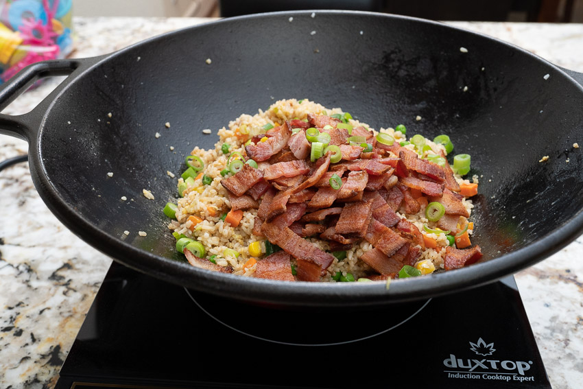 Bacon Fried Rice cooking in the wok