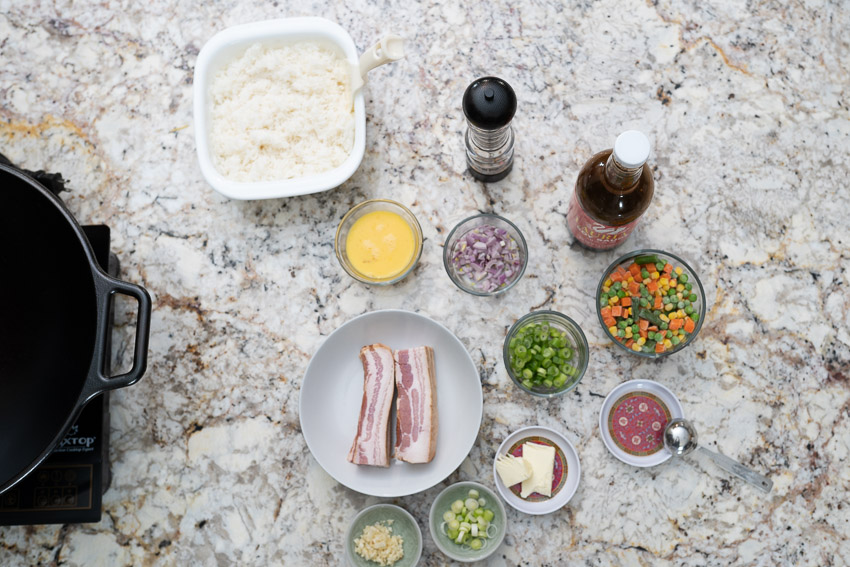 Ingredients for bacon fried rice