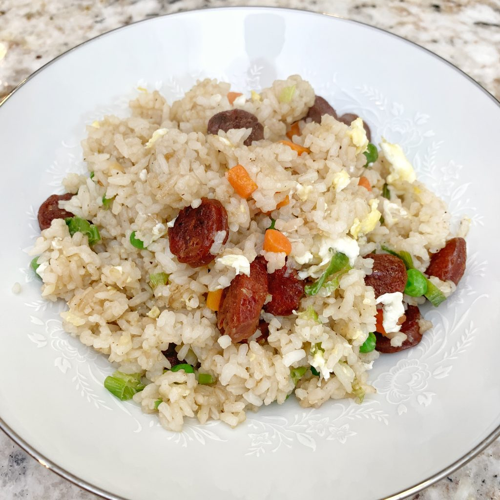 Chinese Sausage Fried Rice on a white bowl