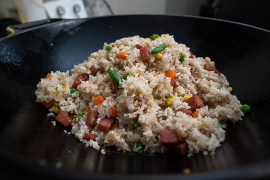 Completed Spam Fried Rice in a Wok