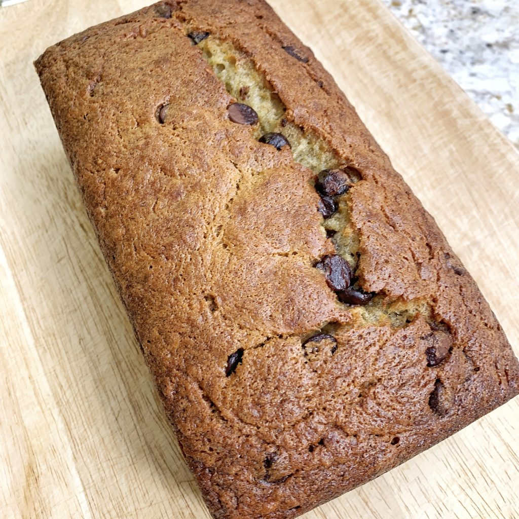 A loaf of chocolate chip banana bread