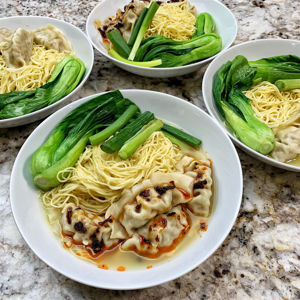 Wonton Noodle soup with dumplings and Bok Choy and green beans